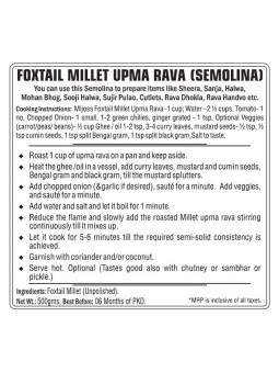 Mijoss Foxtail Millet Upma Rava (Semolina)
