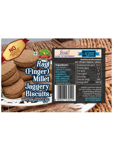 Mijoss Finger (Ragi) Millet Jaggery Biscuits