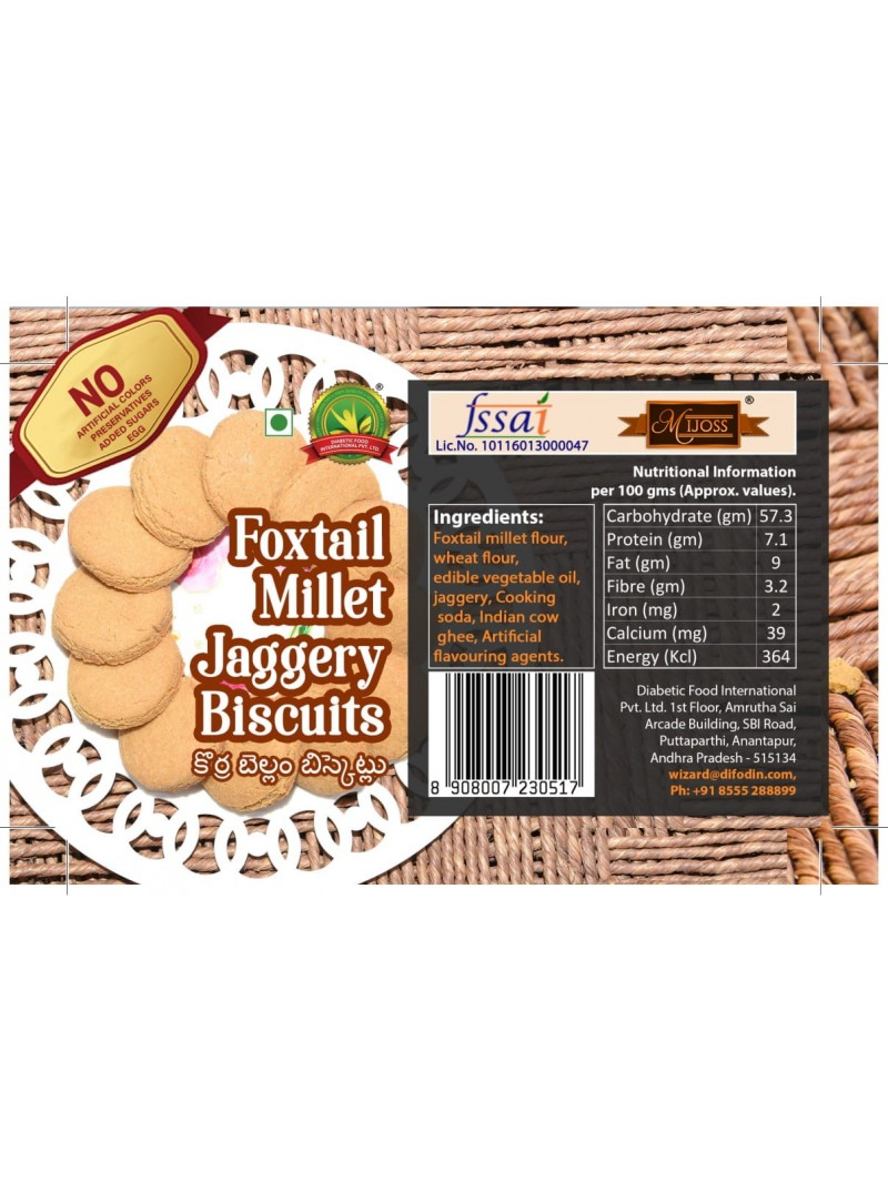 Mijoss Foxtail Millet Jaggery Biscuits