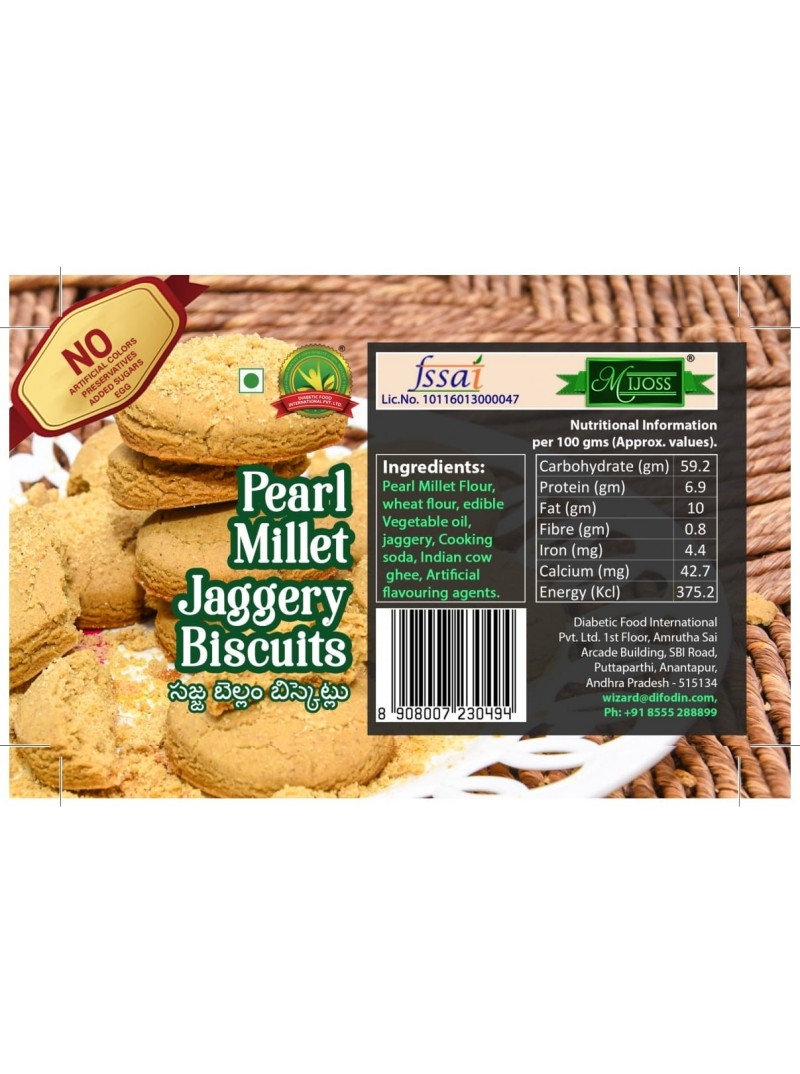 Mijoss Pearl Millet Jaggery Biscuits